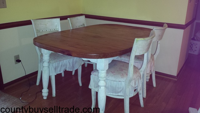Rustic farm house kitchen dining table shabby chic chairs for Rustic shabby chic dining table